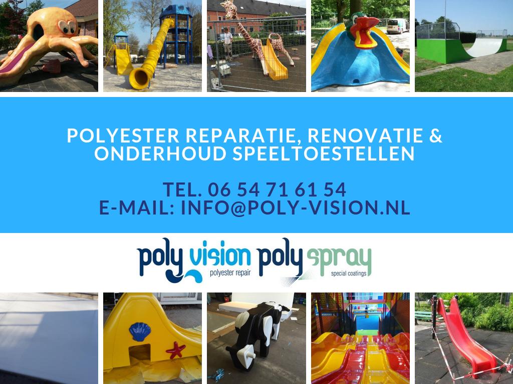 Reparatie en onderhoud polyester glijbaan/speeltoestel indoor/binnen speeltuin
