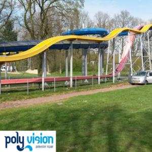 Polyester reparatie en coating waterglijbanen waterspeelpark Splesj / Bosbad Hoeven