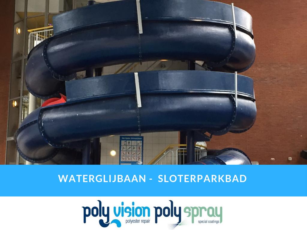 polyester reparatie waterglijbaan, polyester renovatie waterglijbaan, polyester onderhoud waterglijbaan, polyester herstel waterglijbaan, polyester productie en aanpassen