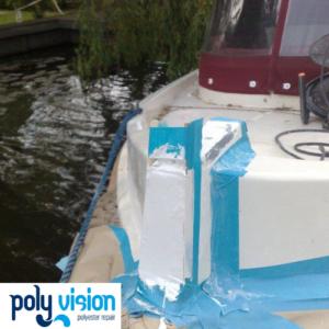 Polyester reparatie en gelcoatreparatie boot Icelander, polyester reparatie boot