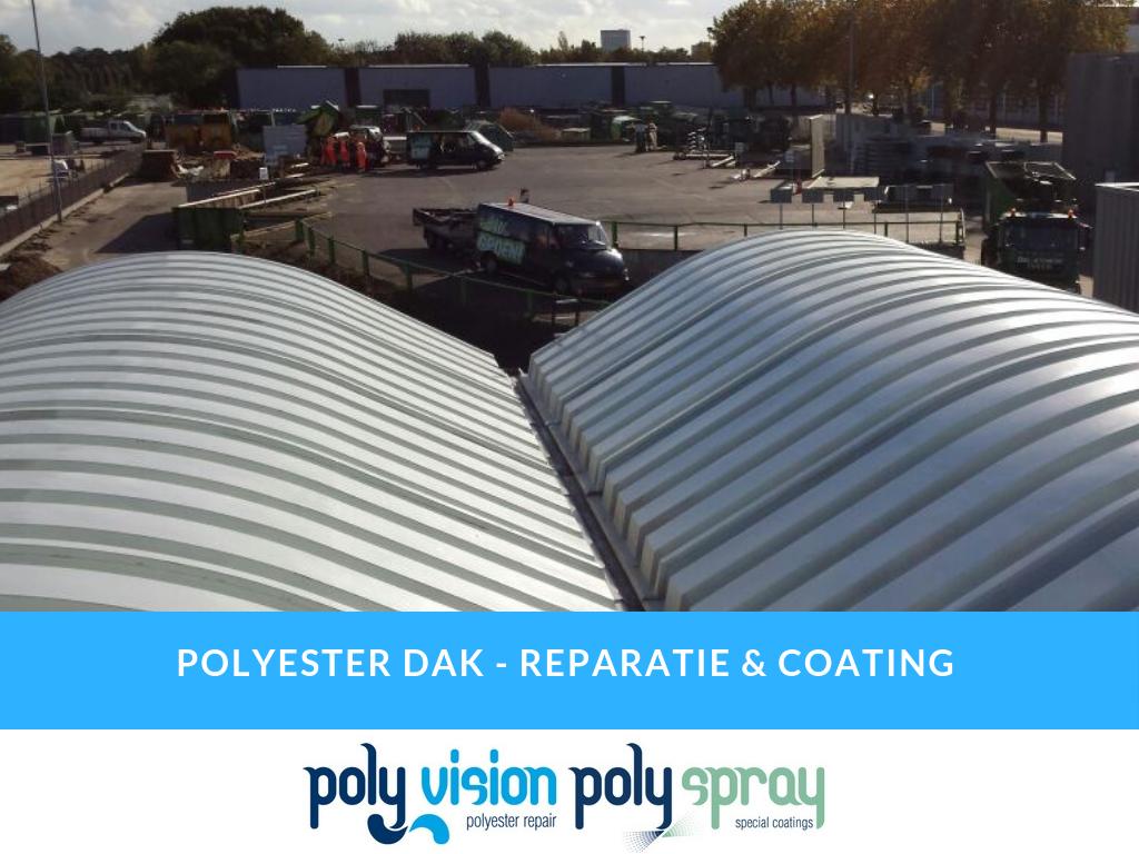 polyester reparatie dak, polyester renovatie dak, polyester onderhoud dak, reinigen polyester dak, coating polyester dak