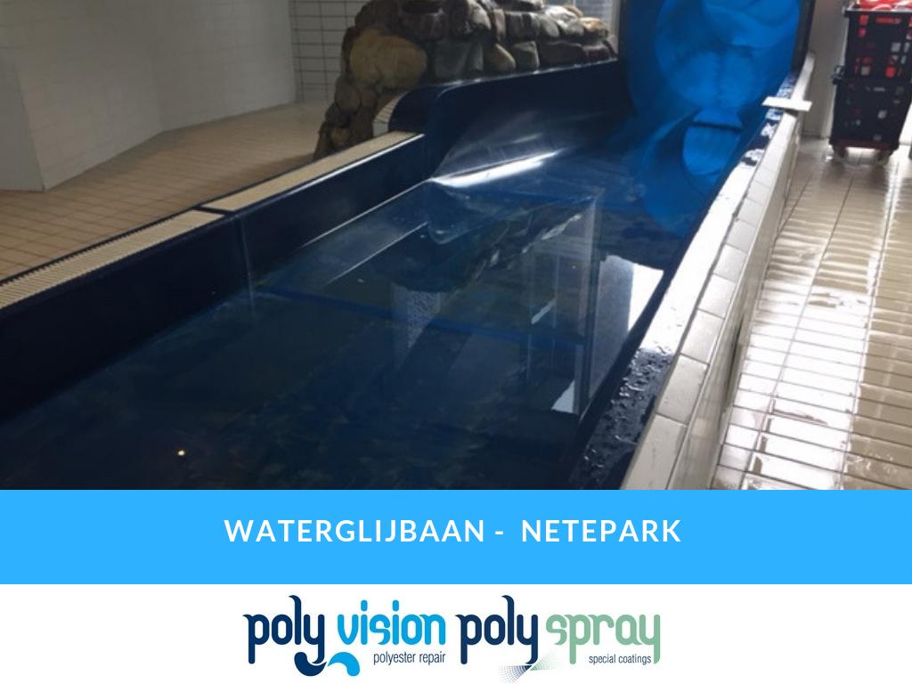 polyester reparatie waterglijbaan, polyester renovatie waterglijbaan, polyester onderhoud waterglijbaan, polyester herstel waterglijbaan, coating