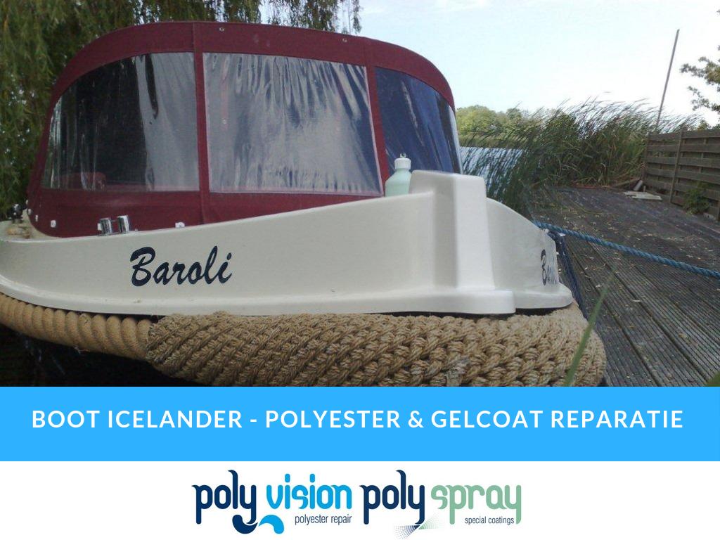 polyester reparatie boot, polyester boot repareren, herstel gelcoat schade boot