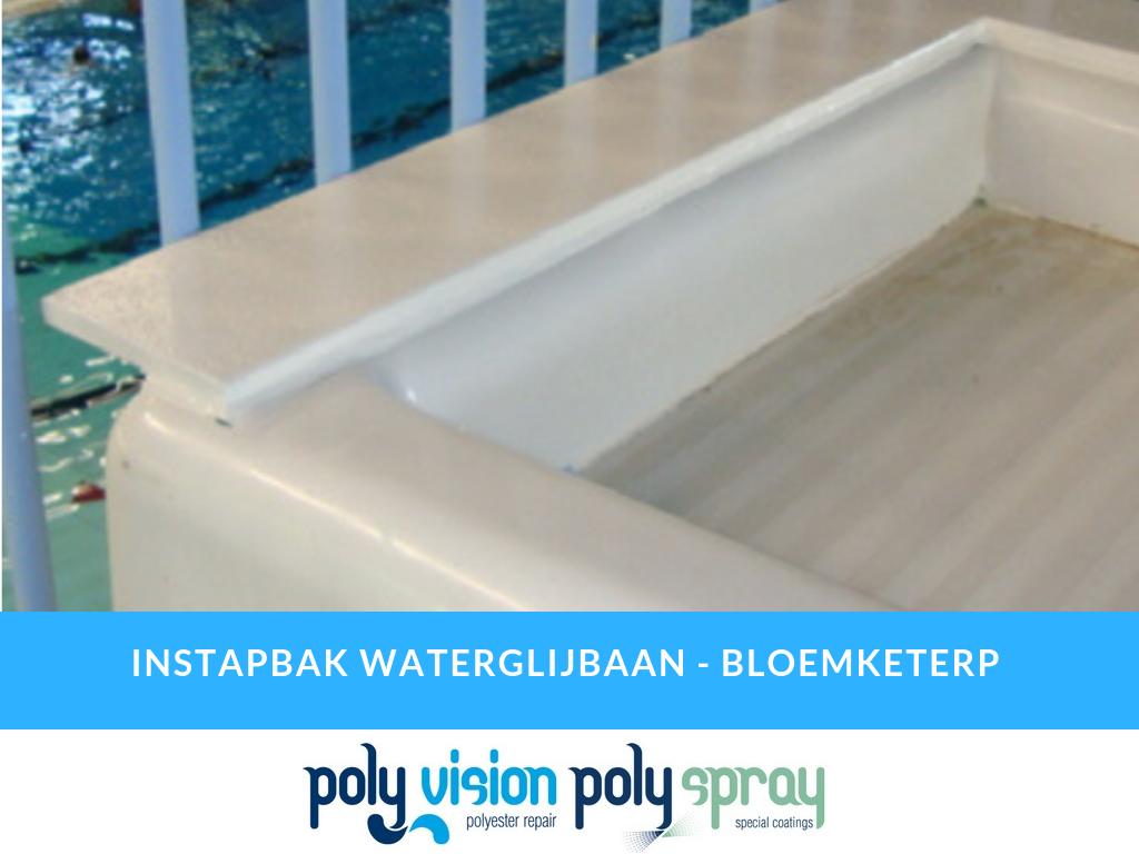 polyester reparatie waterglijbaan, polyester renovatie waterglijbaan, polyester onderhoud waterglijbaan, polyester herstel waterglijbaan, aanpassen polyester